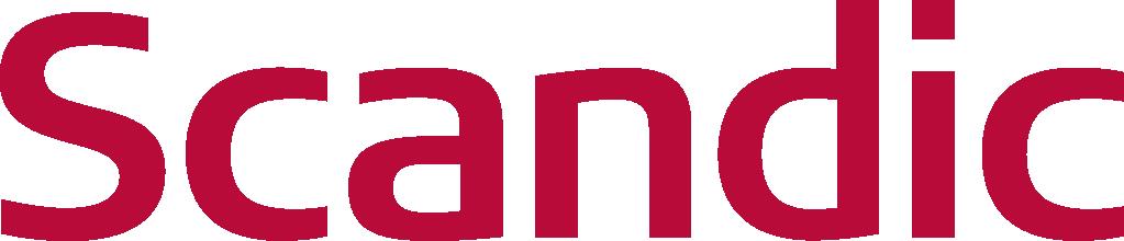 Logo Scandic, röd text
