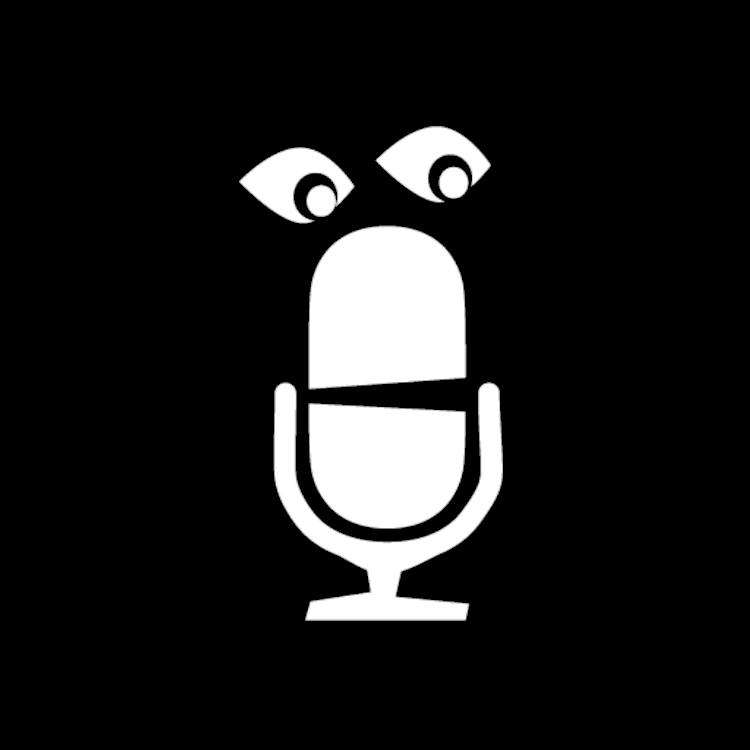 I mörkret med profilfigur, mikrofon med ögon, transparent bakgrund